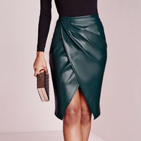 Women High Waist Slim Leather Skirt Sexy Frilly Bandage Bodycon Pencil Skirts