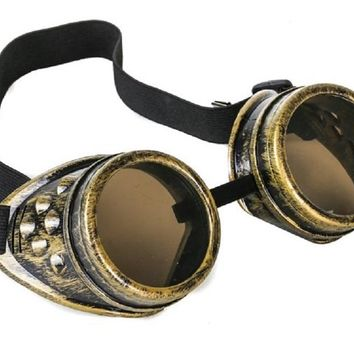 Plain Antique Brass Goggles DIY Cosplay Cyber Goth Glasses