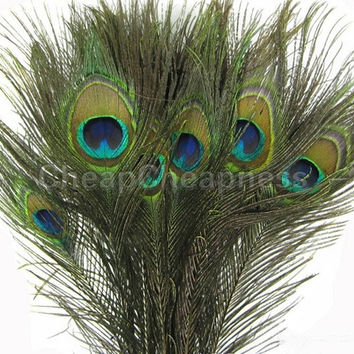 50pcs   Natural Peacock Eye Tail Feathers Beautiful Natural Feathers Wedding Party Home Hairs DIY Decoration SM6