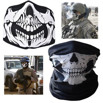 Hot 2017 Neck Warmer Mask 2 style air force Skull Tubular Scary Face Mask Bandana Motorcycle Riding Multi function braga cuello