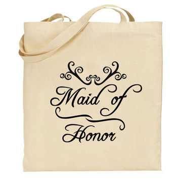 Maid of Honor Cute Graphic Print Natural Cotton Canvas Tote Bag, Bridal Party Gifts, Bridal Shower, Bachelorette Gift, Bridesmaid gifts