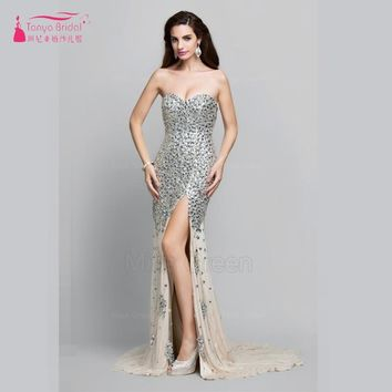 Mermaid Long Prom Dress Heavy Beads Sequins Side Split Sexy Fashion Designer Evening Gown Real Photos Formal Dress ed20012