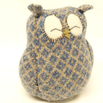 Sleepy Owl Blue Grey and Beige Felted Wool Lamb by ForMyDarling