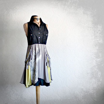 Upcycled Recycled Black Gray Bohemian Dress Tattered Clothing Boho Chic Chartreuse Southwestern Feathers Ladies Eco Clothes Large 'DYAN'