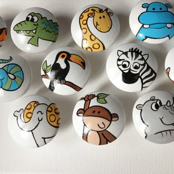 Hand Painted Animal Drawer Pulls / Dresser Knobs (White Background)