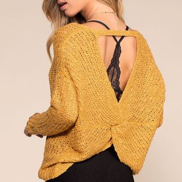 Here And Now Twist-Back Sweater - Mustard