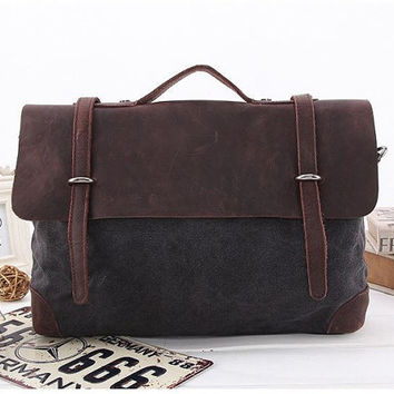 Original Design Canvas Nubuck Leather Messenger Bag, 14 inch Laptop Bag