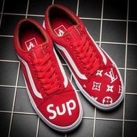 Vans x Supreme x LV Old Skool Flats Sneakers Sport Shoes-1
