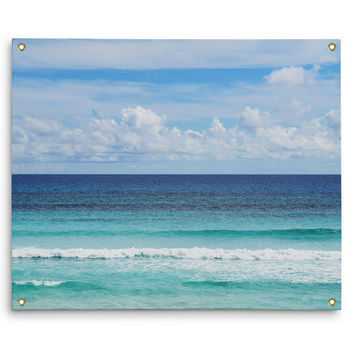 Playa Bonita - Wall Tapestry, Beach Surf Style Blue Ombre Accent, Cozumel Mexico Tropical Ocean Seascape Tapestry. In Small Medium Large