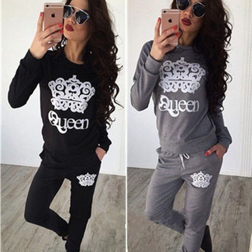 Fashion Casual Crown Print Pattern Pullover Sweater Sweatpants Set Two-Piece Sportswear