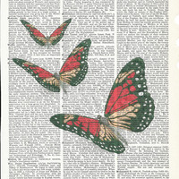 Dictionary Art Print  Vintage Butterflies on Upcycle Book Print Giclee Print Art Print Dictionary Print Collage Print