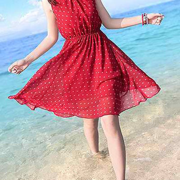 Red Printed Polka Dot Knee-Length Dress