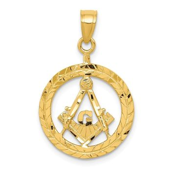 14K Yellow Gold Masonic Symbol in Wreath Pendant