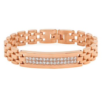 The 18 Kt Rose Gold Plated Stainless Steel Bracelet With Cz Stones in Rose