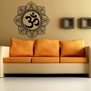 Wall Decor Vinyl Sticker Room Decal Art Yoga Spirit Om Symbol Flower Hindu 1096
