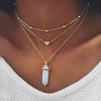 New Fashion Gold Color 3 Layer Opal Pink Stone Necklace Heart with Multi Stone Necklaces for Women Jewelry Gift   171213