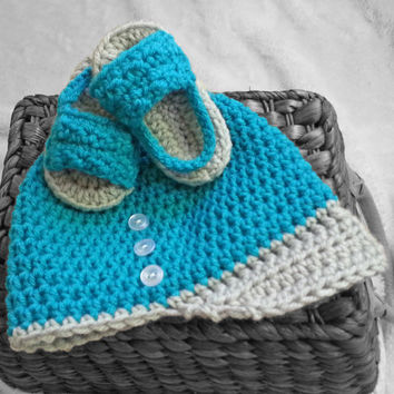 Baby crochet hat and sandals, baby boy, baby girl, teal, turquoise, blue, newborn hat, baby shoes