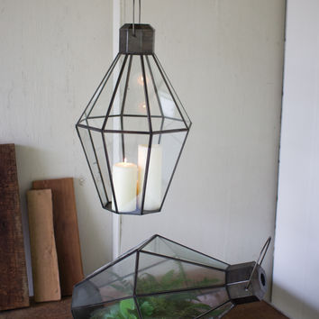 Metal & Glass Terrarium Lantern- Antique Zinc- Medium