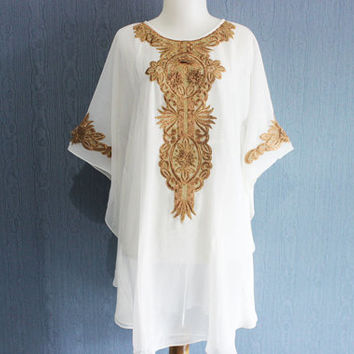 White Womens Blouse Dress, Gold Embroidery Short Kaftan Blouse, Bridesmaid Wedding Party Summer Dress, Batwing Style Blouse