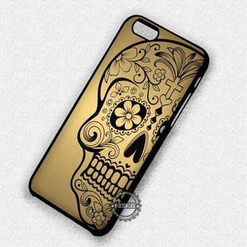 Black Image on Gold Texture Sugar Skull - iPhone 7 6 5 SE Cases & Covers