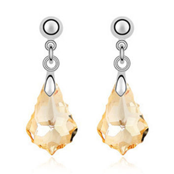 Imported Austrian Crystal Earrings - Baroque leaf export to Europe and America jewelry factory strength    GOLDEN SHADOW