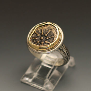 sterling silver and 14 karat gold ring size 8 with aurhentic widow's mite ancient coin, ancient coin ring size 8
