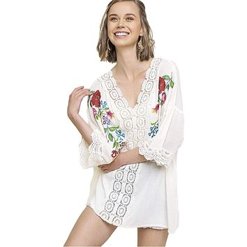 Umgee Women's Bohemian Floral Embroidered V-Neck Tunic with Elbow Length Sleeves and Crochet Trim