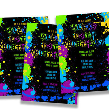 Neon Paint Birthday Invitations - Paint Splatter Invites - Neon Party - Glow Party -  Teen Birthday Party Invitation - 30th birthday party
