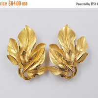 ON SALE Vintage Trifari Gold Double Leaf Clip Earrings, Signed Kunio Matsumoto, Large, Maple Leaves, Textured, Beautiful & Rare Find! #b301