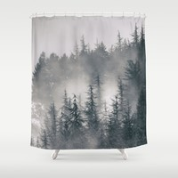 """Mountain light II"". Foggy forest. Shower Curtain by Guido Montañés"