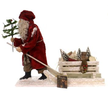 Christmas GERMAN SANTA PULLING SLED Polyresin Hand-Painted Td6070