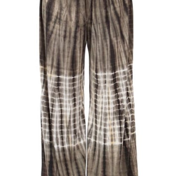Womens Olive And White Tie Dye Bamboo Palazzo Wide Leg Pants