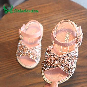 Claladoudou 11.5-15.5CM Baby Bling Shoes Pu Leather Infant Beige Rivets Summer Sandals Kid Girls Black Princess Party Dress Shos