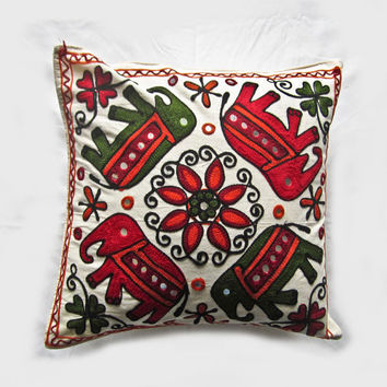 Vintage Indian handcrafted embroidery mirror work cushion cover, pillow cover, throw pillow, decorative pillow, suzani pillow cover 001