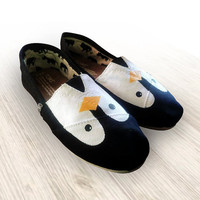 "Custom Painted ""Penguin"" Toms Shoes"