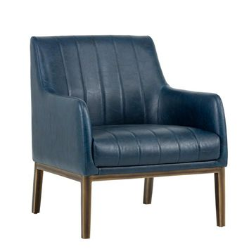 WOLF RUSTIC BRONZE VINTAGE BLUE LEATHER ACCENT CHAIR