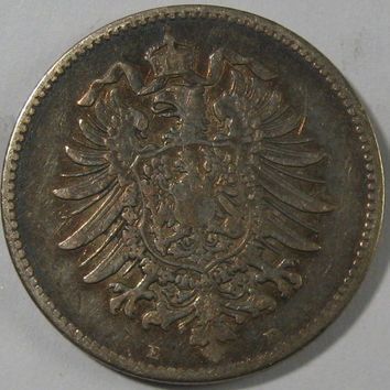 1875 E German Empire Prussia Prussian Deusches Reich Silver Coin, One Mark low mintage coin, Prussian Coin, German COIN, Silver Reich Mark