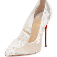 Christian Louboutin Dorissima Lace Red Sole 105mm Pump, White