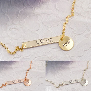 Personalized Bar Disc Coin Necklace Bracelet Anklet Delicate Hand Stamped Jewelry