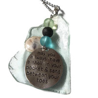 Sea Glass Diffuser Pendant-Aromatherapy Pendant Necklace-Lava Rock Diffuser-Sand Between Your Toes Quote Charm Necklace-Statement Necklace
