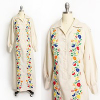 Vintage 1960s Dress - Filipino Floral Embroidered Beige Shirt Front Full Length Maxi 60s - Medium