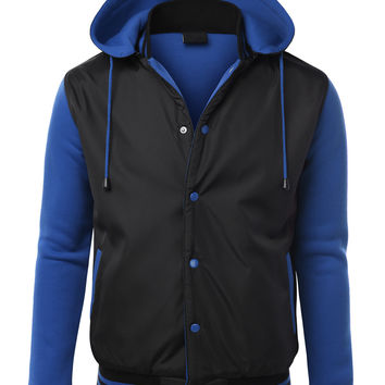 Mens Soft Varsity Baseball Bomber Jacket With Detachable Hoodie