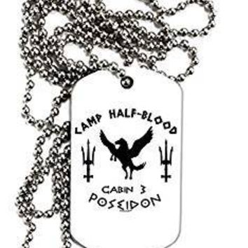 TooLoud Cabin 3 Poseidon Camp Half Blood Adult Dog Tag Chain Necklace