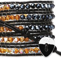 Midnight Amber- Herm & Amber - Leather Wrap Bracelet