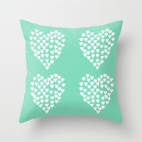 Hearts Heart x2 Mint Throw Pillow by Project M