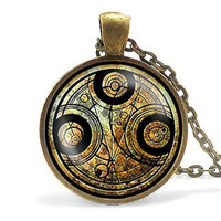 doctor who time chain police telephone booth circle Necklace 1pcs/lot bronze silver mens Pendant harry potter Steampunk vintage