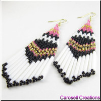 On The Border Beadwork Southwestern Seed Bead Earrings