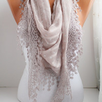Elegance Triangle Scarf  Lace trim Shawl