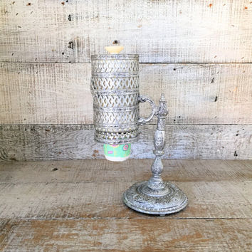 Cup Dispenser Dixie Cup Dispenser Paper Cup Holder Silver Filigree Cup Dispenser Disposable Cup Dispenser Vanity Decor Hollywood Regency