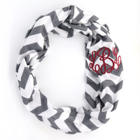 Gray & White Chevron Monogram Infinity Scarf